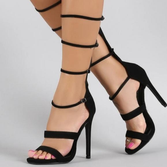 Paprika Shoes - Paprika Strappy Gladiator Open Toe Heel
